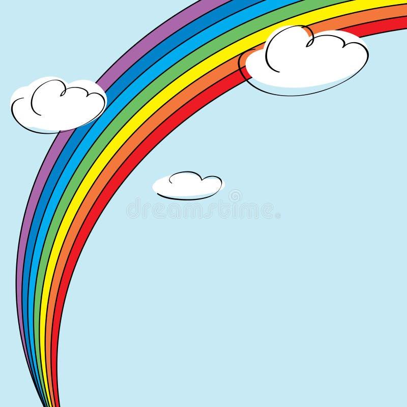 Regenboog en wolken royalty-vrije illustratie