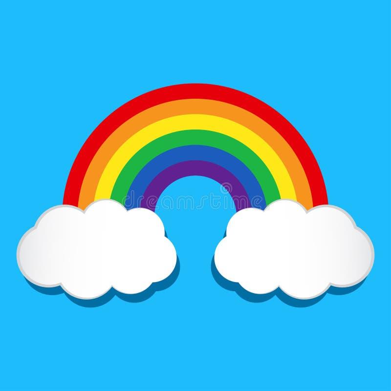 Regenboog en wolken Vector illustratie royalty-vrije illustratie