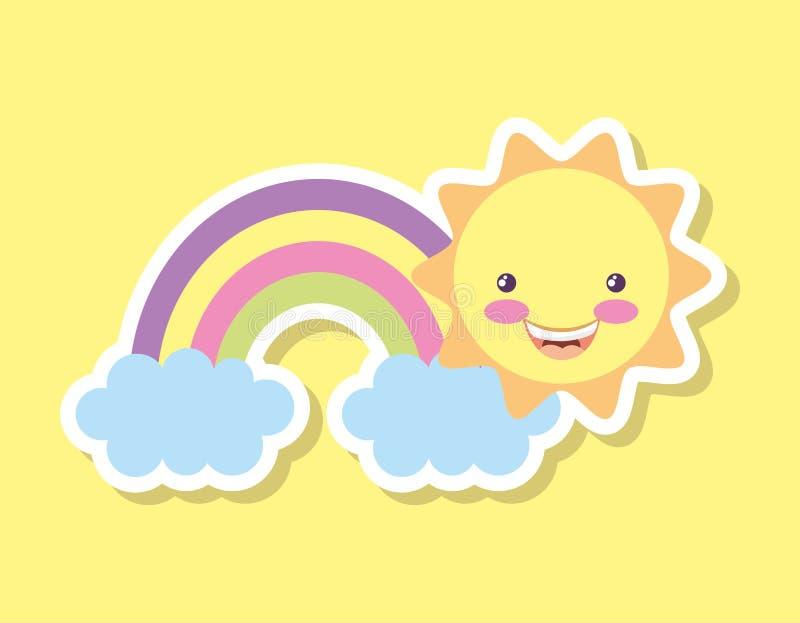Regenboog en zon het glimlachen beeldverhalen royalty-vrije illustratie