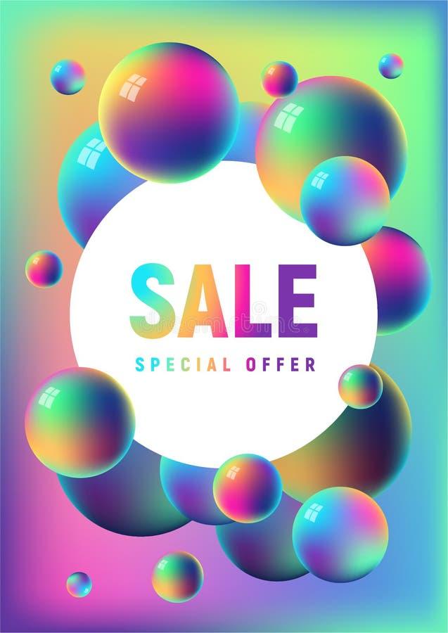 Regenboog geanodiseerd de verkoopmalplaatje van folieballen stock illustratie