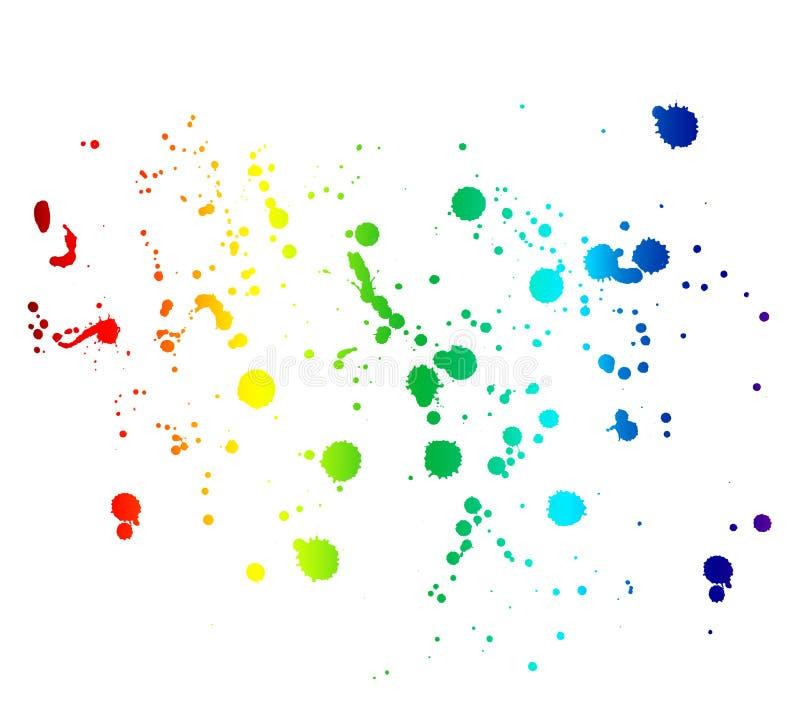 Regenboog gekleurde die inktvlekken en dalingen op wit worden geïsoleerd stock foto