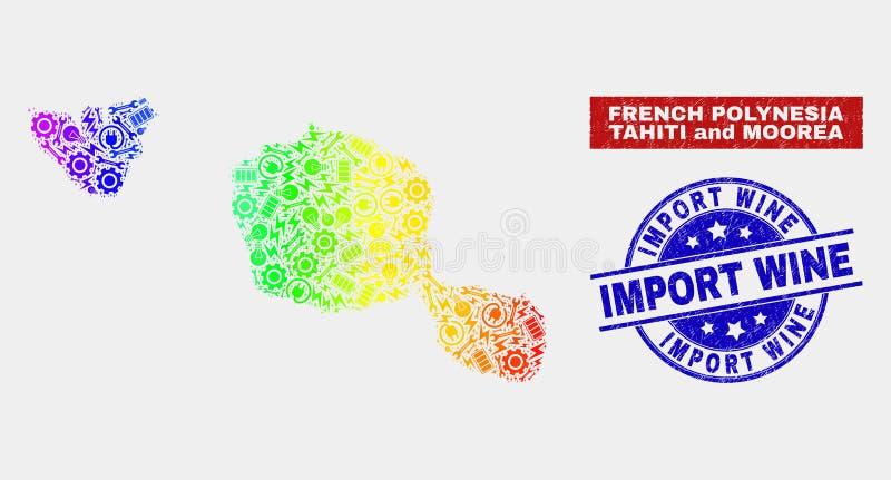 Regenboog Gekleurde Productiviteit Tahiti en Moorea-Eilandenkaart en de Gekraste Zegels van de de Invoerwijn stock illustratie
