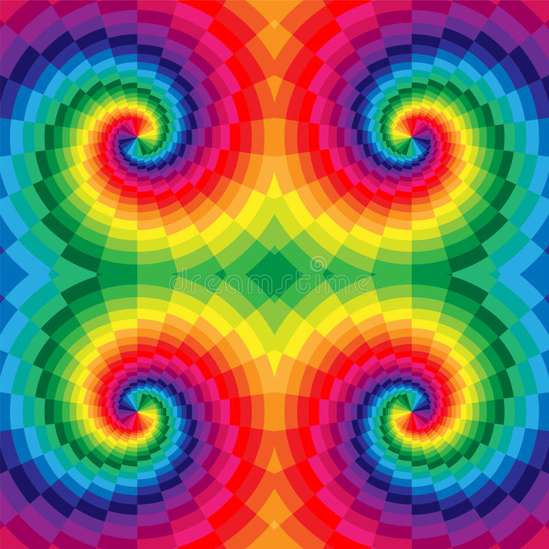 Regenboog Gekleurde Spiralen van zich Rechthoeken het Radiale Uitbreiden van het Centrum Optische illusie van Diepte en Volume royalty-vrije illustratie