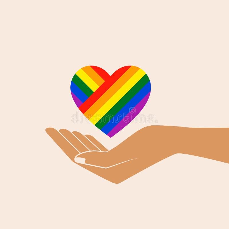 Regenboog geschilderd hart in open palmen royalty-vrije illustratie