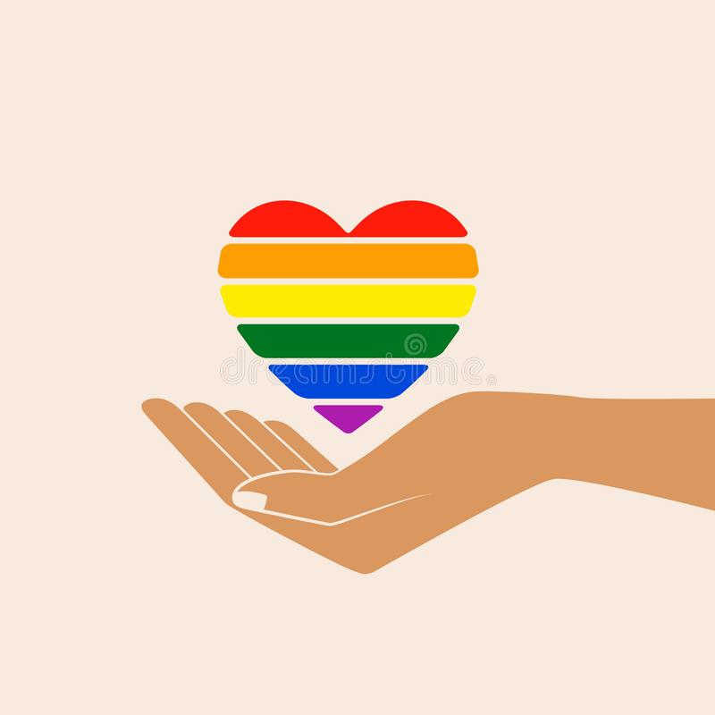 Regenboog geschilderd hart in open palmen stock illustratie