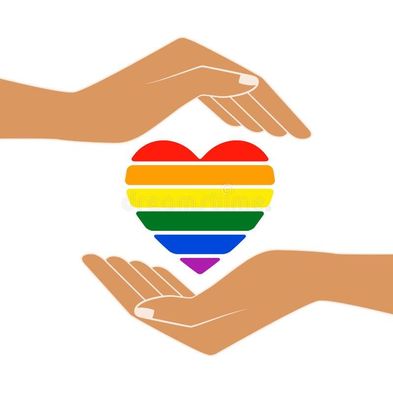 Regenboog geschilderd hart in open palmen vector illustratie