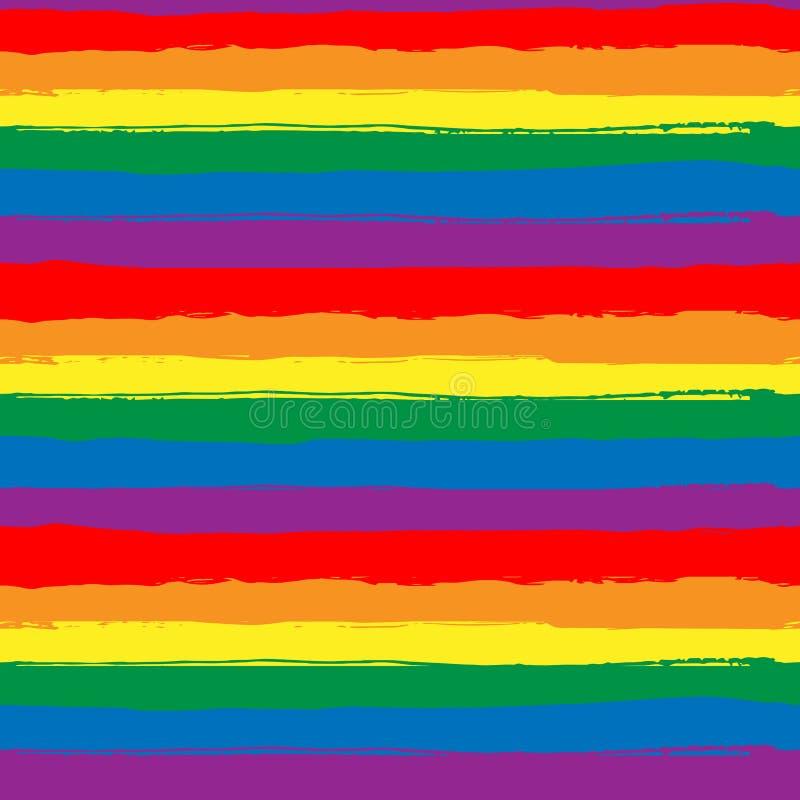 Regenboog gestreept naadloos patroon, LGBT-vlag tegen homoseksueel onderscheid Grungeregenboog die achtergrond, Hand herhalen royalty-vrije illustratie