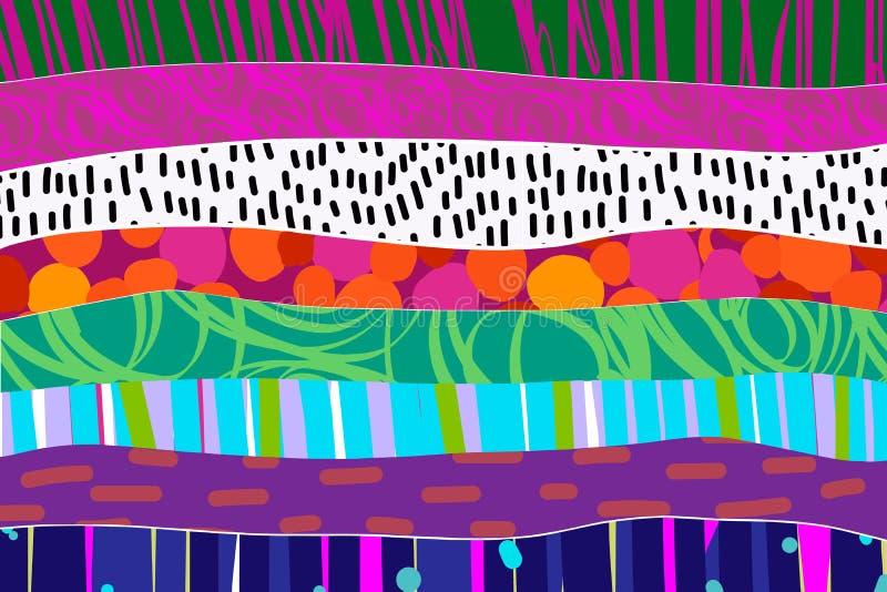 Regenboog geweven hand getrokken samenvatting als achtergrond in trillende kleuren stock illustratie