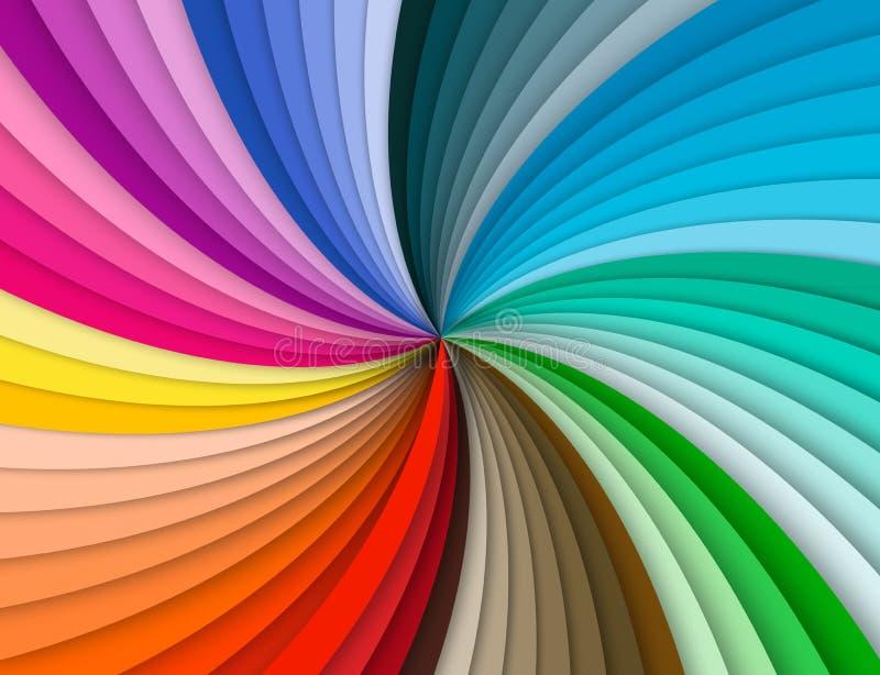 Regenboog kleurrijke spiraalvormige achtergrond stock illustratie