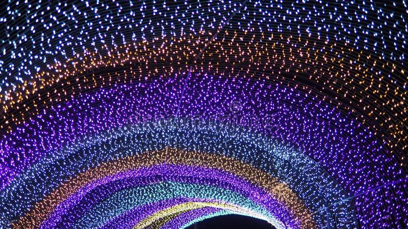 Regenboog lichte omhoog uiterst kleine punten stock foto's