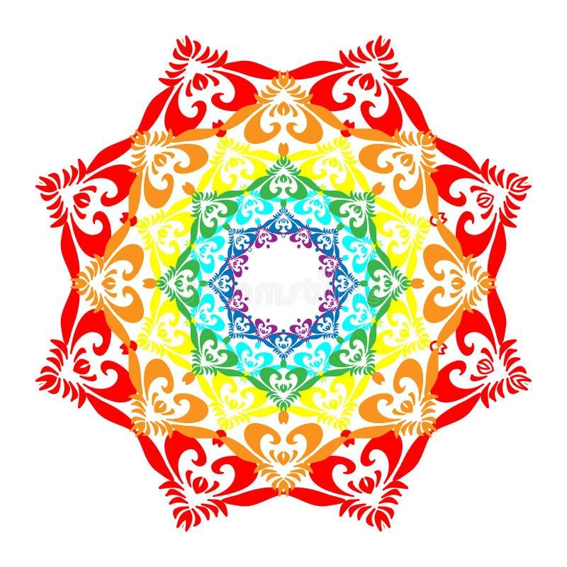 Regenboog Mandala Isolated op Wit Oosters decoratief element vector illustratie