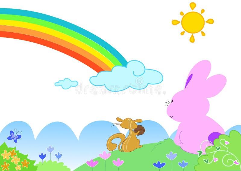 Regenboog met grappige dieren - vectorial illustratie stock illustratie
