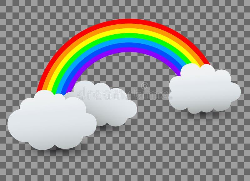 Regenboog met wolk - vector illustratie