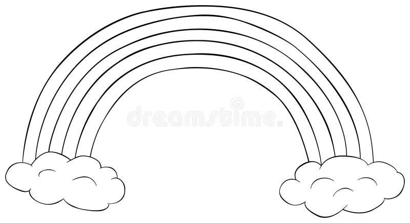 Regenboog met wolken clipart Kleurend boek voor kinderen De vectorIllustratie van de krabbel stock illustratie