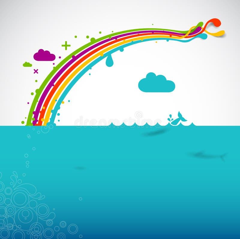 Regenboog over de oceaan   vector illustratie