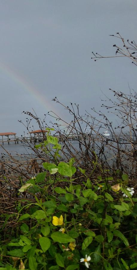 Regenboog over de rivier stock foto