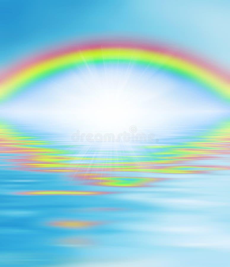 Regenboog over de wateren royalty-vrije illustratie