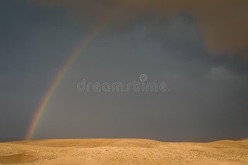 Regenboog over grijze woestijnhemel stock afbeelding