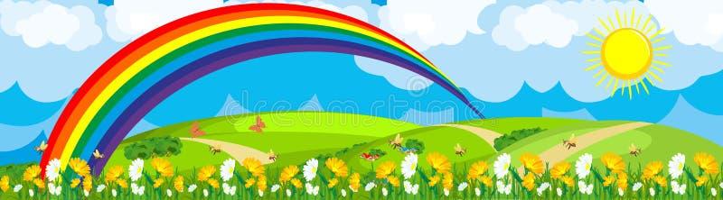 Regenboog over het bloemgebied stock illustratie