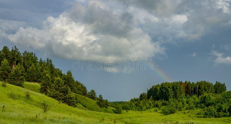 Regenboog over het bos die neer uit een grote wolk komen stock foto's