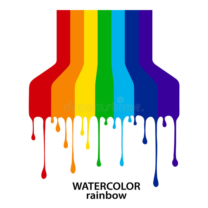 Regenboog van de stromen-flowing-down verven in stijl grunge royalty-vrije illustratie