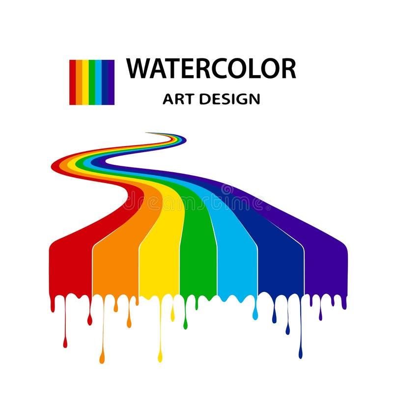 Regenboog van de stromen-flowing-down verven in stijl grunge Het ontwerp van de kunst Geïsoleerd op witte achtergrond vector illustratie
