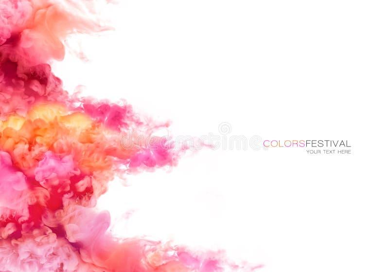 Regenboog van Inkt in water De explosie van de kleur De textuur van de verf stock foto
