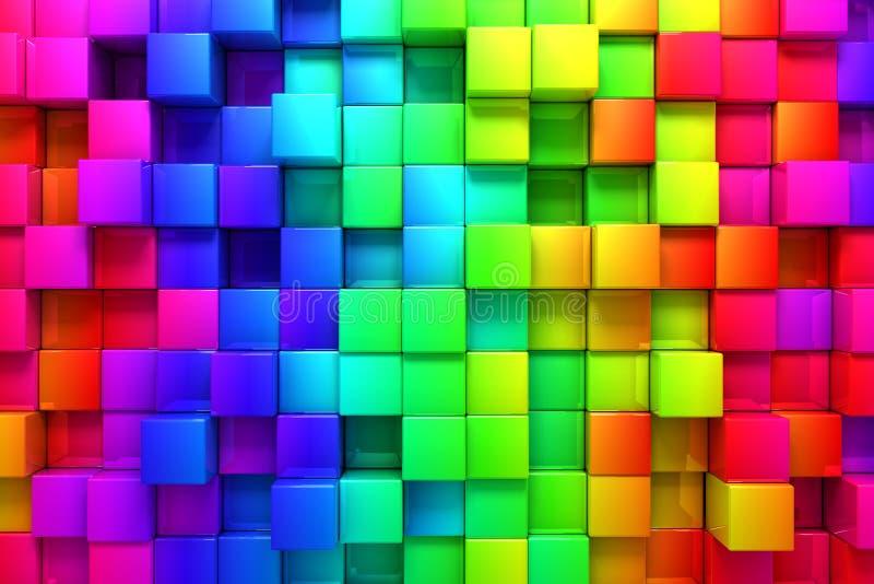 Regenboog van kleurrijke dozen vector illustratie