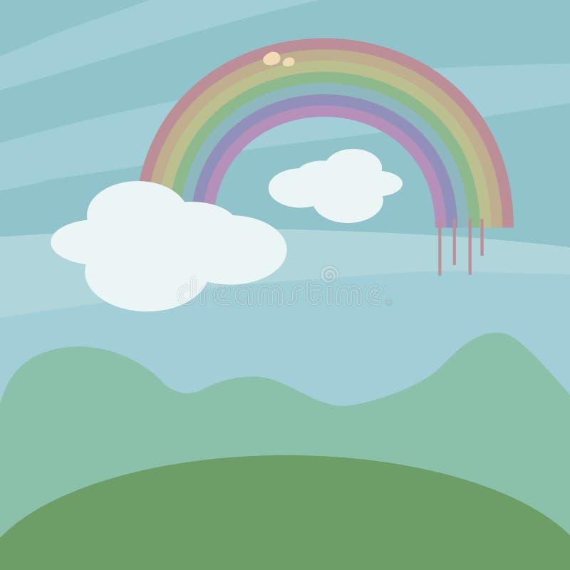 Regenboog vector mooi beeldverhaal met een wolk op een achtergrond van een blauwe hemel, heuvels en een groene weideillustratie stock illustratie
