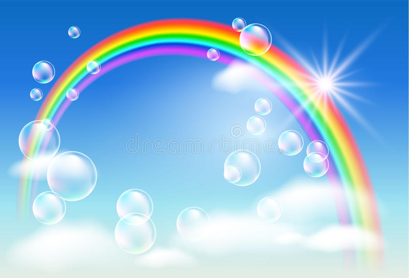 Regenboog, wolken en bellen vector illustratie