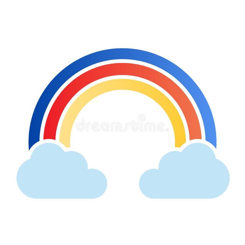 Regenboog in wolken vlak pictogram De pictogrammen van de hemelkleur in in vlakke stijl De stijlontwerp van de aardgradi?nt, dat  stock illustratie