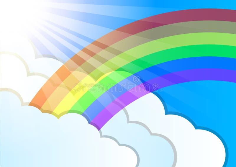 Regenboog zonstralen en wolkenelementen De zomerweer Mooi aardlandschap Zoete hemel royalty-vrije illustratie
