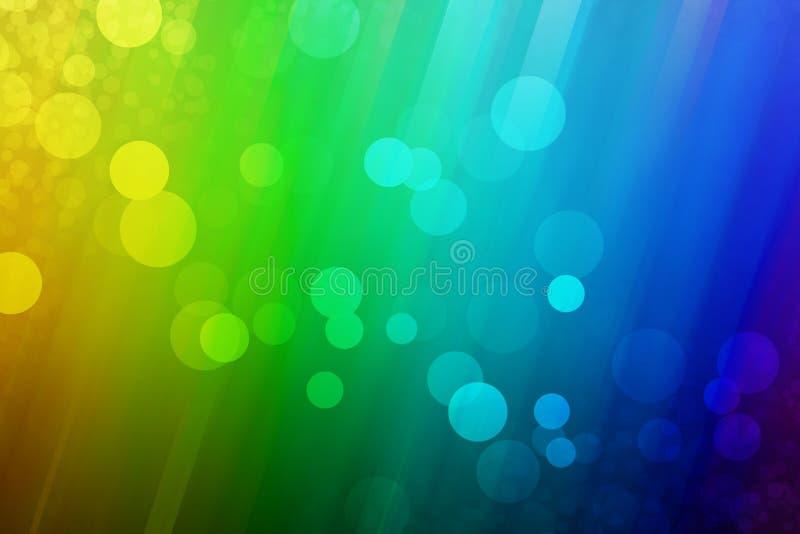 Regenboogachtergrond met verschillende types van bellen stock fotografie
