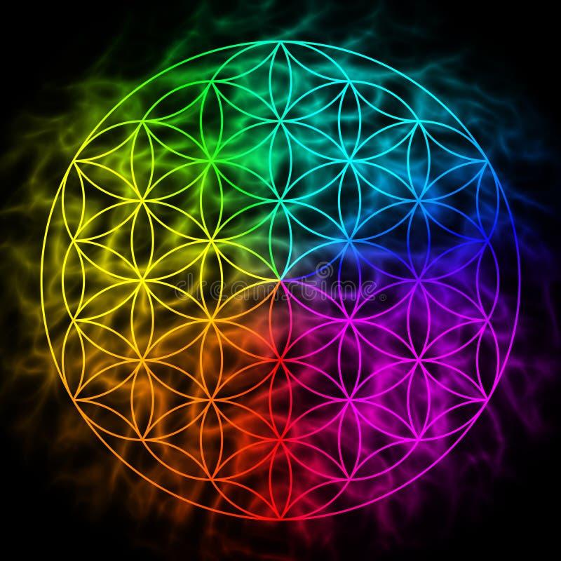 Regenboogbloem van het leven met aura royalty-vrije illustratie