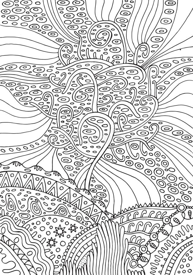 Regenboogboom van het leven Surreal fantasie psychedelische kleurende pagina royalty-vrije illustratie