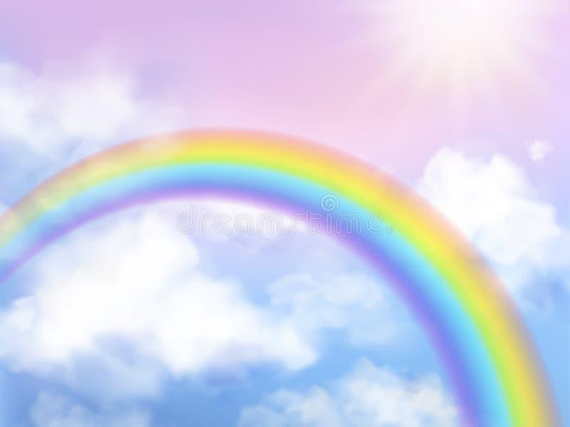 Regenbooghemel Het landschapsregenboog van de fantasiehemel op de witte vectorachtergrond van de wolken iriserende girly eenhoorn stock illustratie