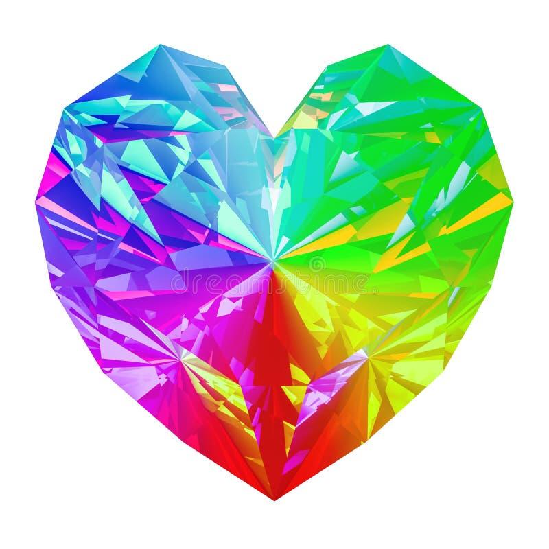 Regenboogjuweel in de vorm van hart het 3d teruggeven royalty-vrije illustratie