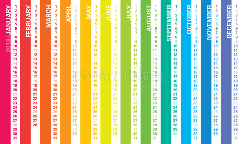 Regenboogkalender 2018 royalty-vrije illustratie