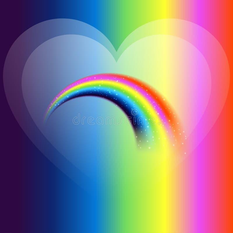Regenboogpictogram met liefdeachtergrond royalty-vrije illustratie