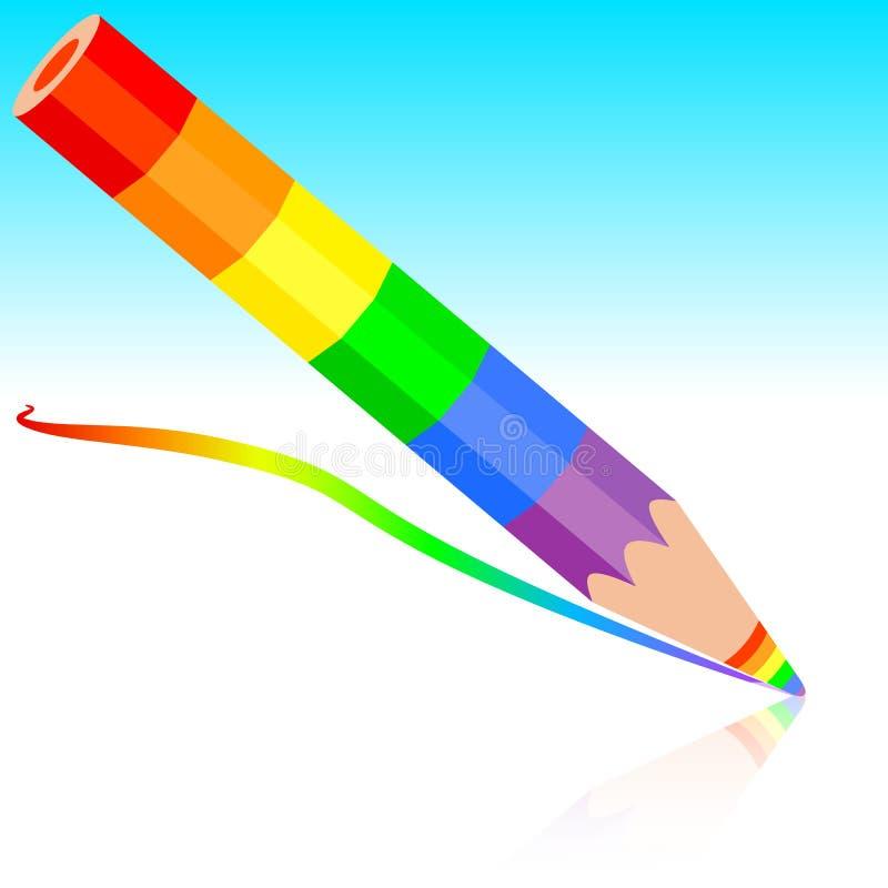 Regenboogpotlood, vectorillustratie. vector illustratie