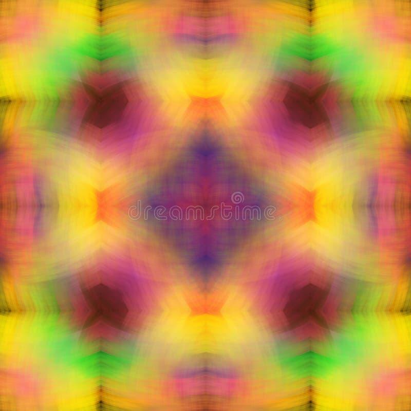 Regenboogstructuur van zachte, gesmeerde slagen Heldere Multicolored Achtergrond Fractal abstractie Symmetrische vierkante naadlo stock illustratie