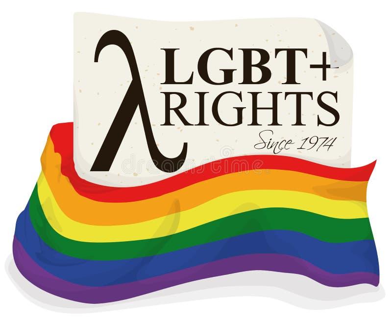Regenboogvlag en Brief die Rechtengelijkheid voor de Communautaire, Vectorillustratie van LGBT bevorderen royalty-vrije illustratie