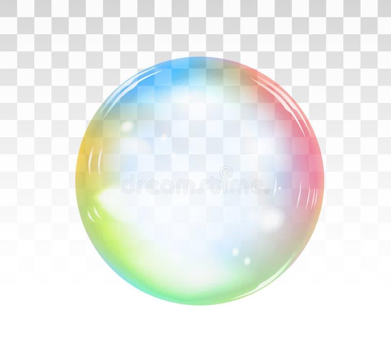 Regenboogzeepbel op een transparante achtergrond Vector illustratie vector illustratie