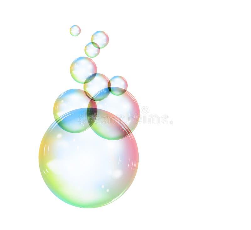 Regenboogzeepbel op een witte achtergrond Vector illustratie stock illustratie