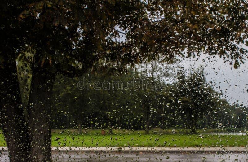 Regendalingen op het vensterglas Achtergrond royalty-vrije stock afbeelding