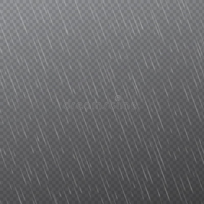 Regendalingen op transparante achtergrond Dalende waterdalingen Aardregenval Vector illustratie stock illustratie
