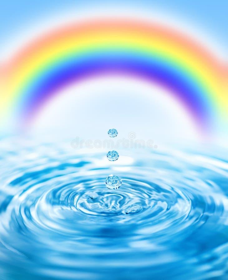 Regendruppels die in water vallen stock foto