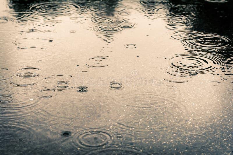 Regendruppels in een vulklei stock fotografie