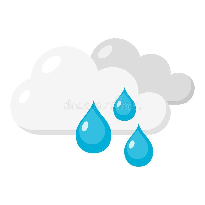 Regenend Dag Vlak die Pictogram op Wit wordt geïsoleerd stock illustratie