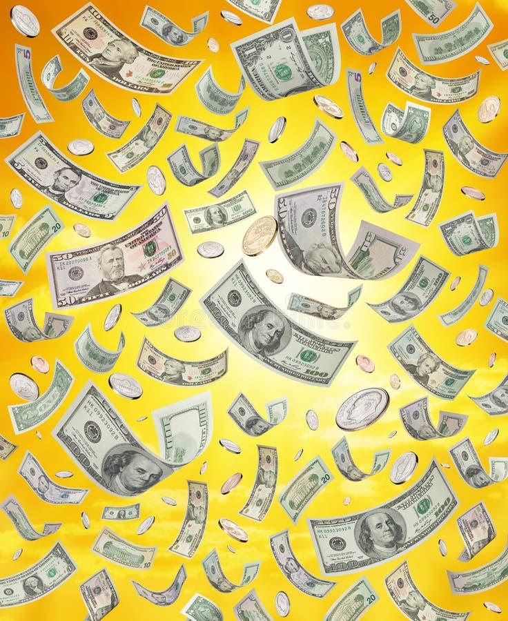 Regenend of Dalend Amerikaans Geld stock afbeeldingen